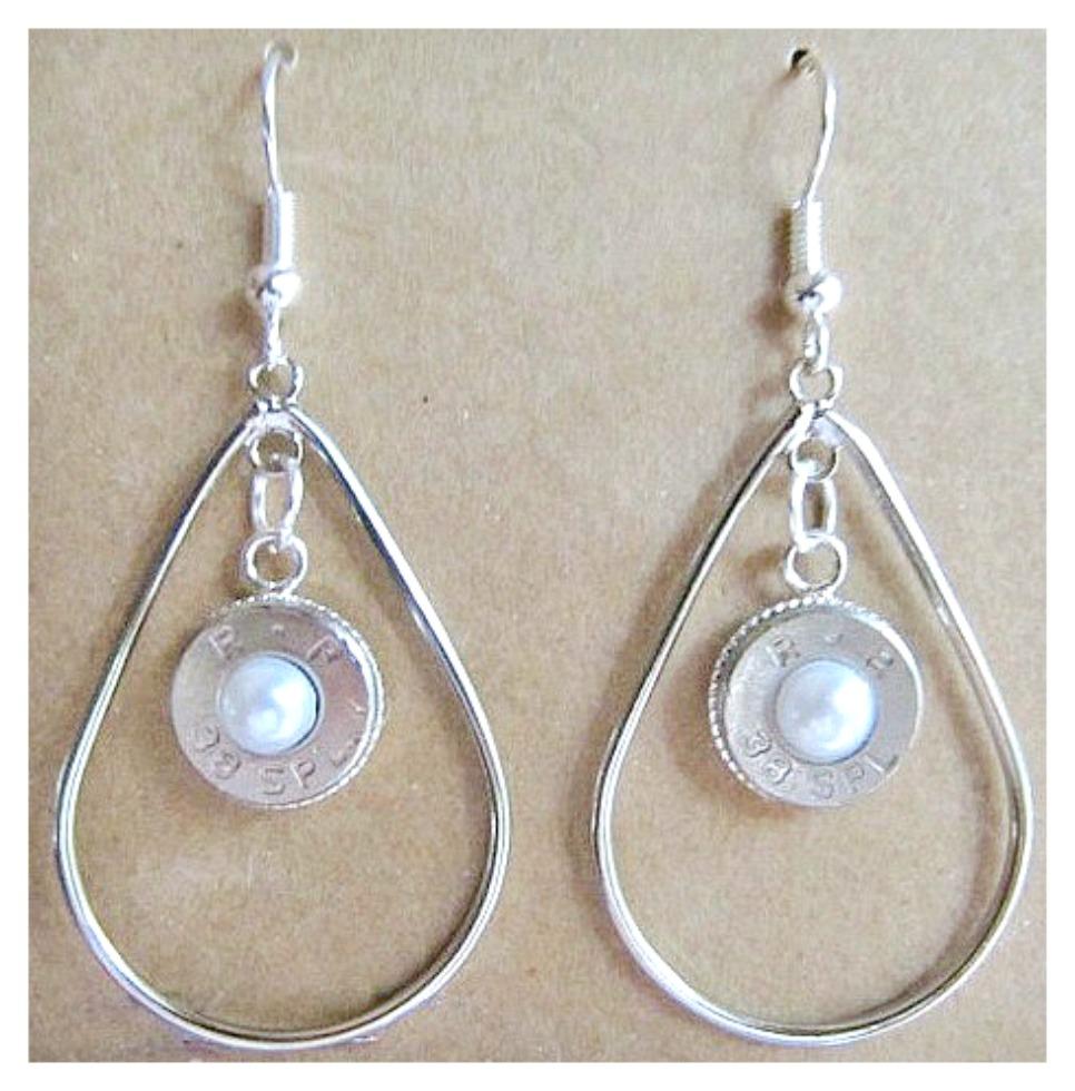 OUTLAW COWGIRL EARRINGS 38 Special Silver and Pearl Hoop Earrings