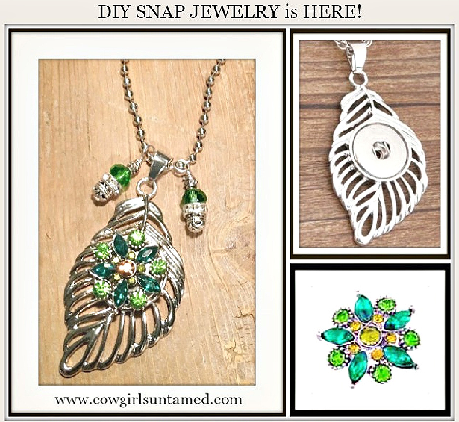 COWGIRL ATTITUDE NECKLACE Silver Feather w/ Green Rhinestone Flower Snap Charm Necklace