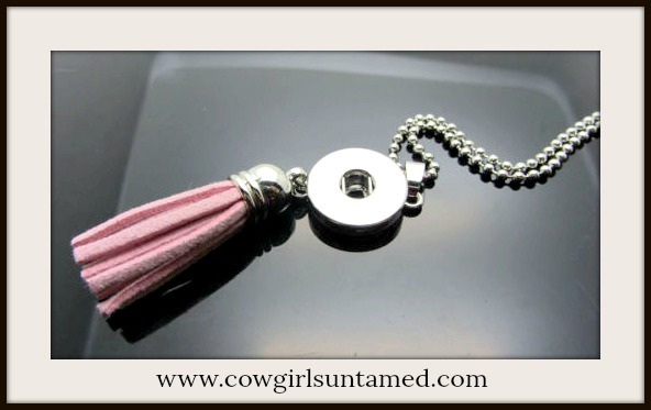 COWGIRL STYLE NECKLACE Pink Fringe Silver Snap Pendant DIY Necklace