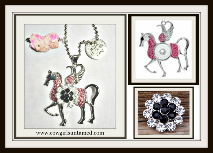 COWGIRL STYLE NECKLACE Pink Crystal Silver Winged Horse with Black & Clear Crystal Snap Pendant with Handmade Charms Necklace