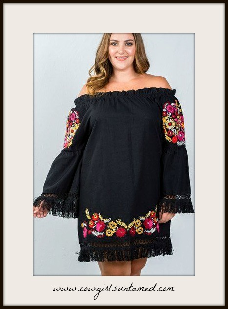 BOHEMIAN COWGIRL DRESS Plus Size Multi Color Floral Embroidered Fringe Black Dress