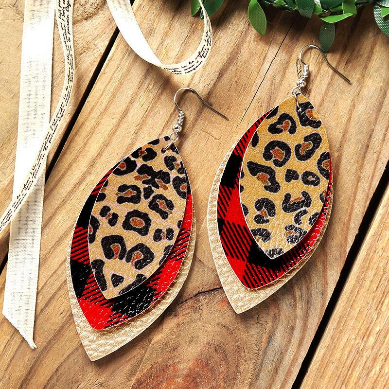 GETTIN' WILD EARRINGS Gold Leopard Plaid Mixed Pattern Leather 3 Layer Dangle Earrings