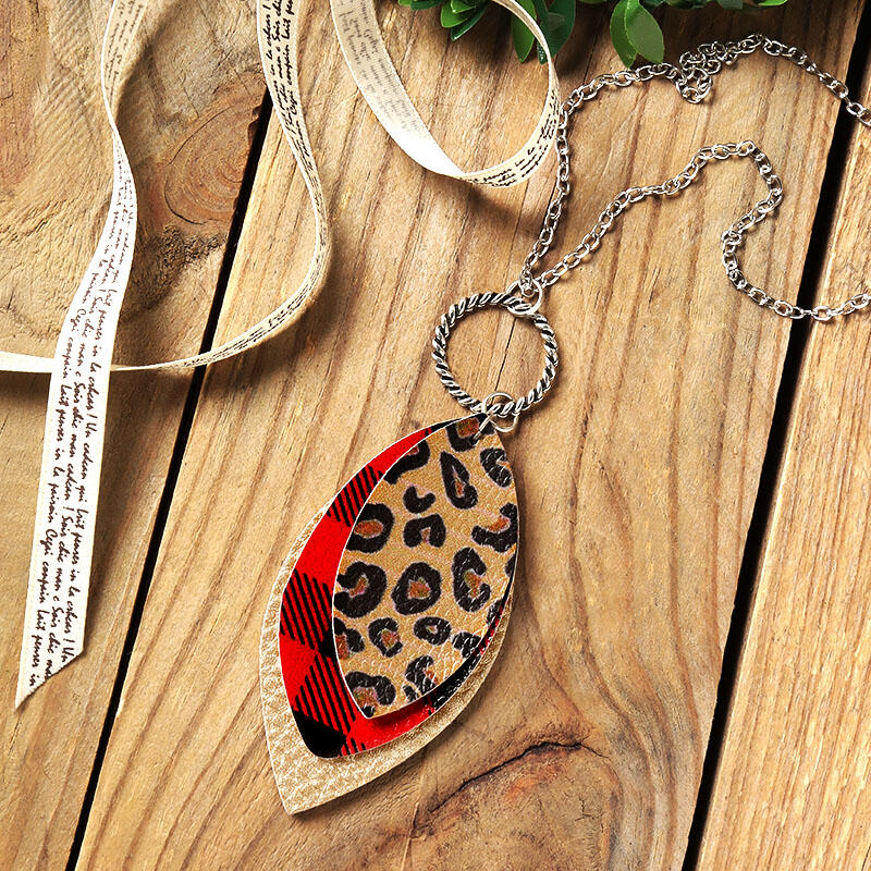 GETTIN' WILD NECKLACE Gold Leopard Plaid Mixed Pattern Leather 3 Layer Silver Pendant Necklace