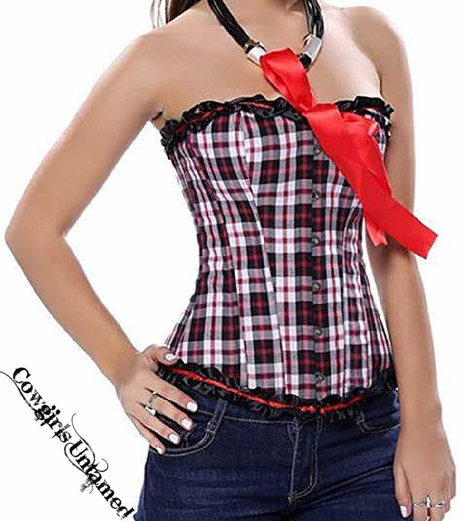 SO PLAID CORSET - Red Black White Plaid Satin Bow & Ruffle Strapless Overbust lace Up Back Corset Top XL