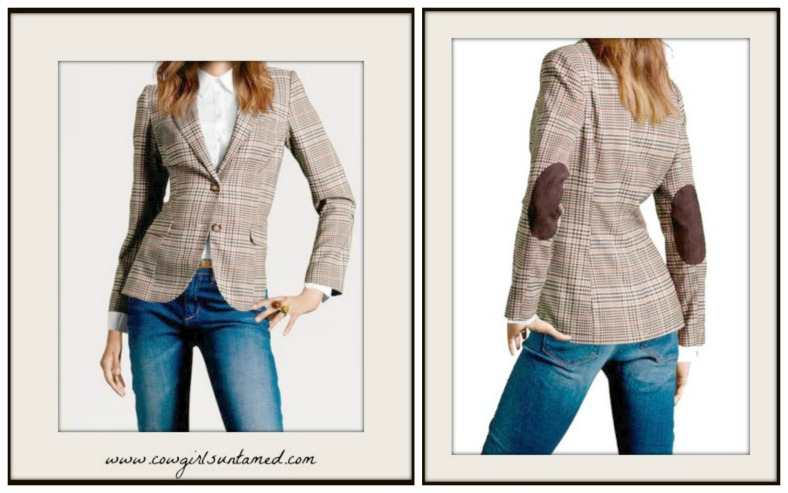 MAGNOLIAS BLOOM JACKET Patch Elbow Plaid Button Front Jacket