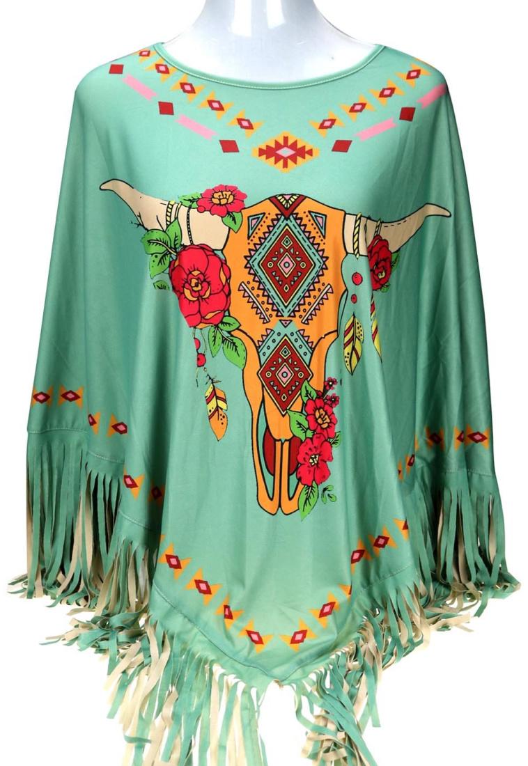 WESTERN PONCHO Steer Floral Graphic Fringe Aqua Womens Cowgirl Poncho