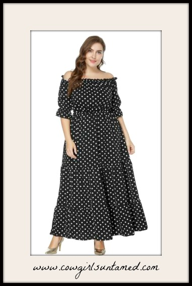 JOSEPHINE PLUS SIZE DRESS White Polka Dot Off the Shoulder Black Maxi Dress
