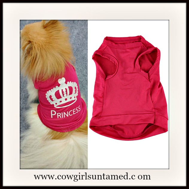 "BLINGIN' BESTIES ""Princess"" with White Glitter CROWN Image on Hot Pink Doggie T-shirt"