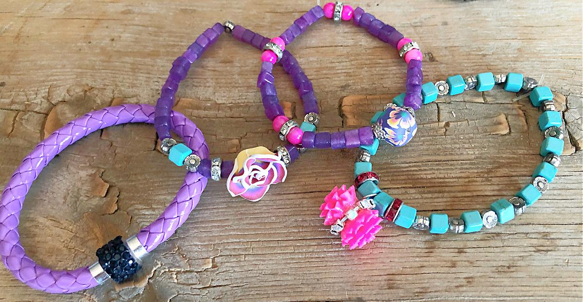 COWGIRL GYPSY BRACELET SET Handmade Purple Turquoise Black & Pink Flower Beaded Charm Bracelet 4 pc Set