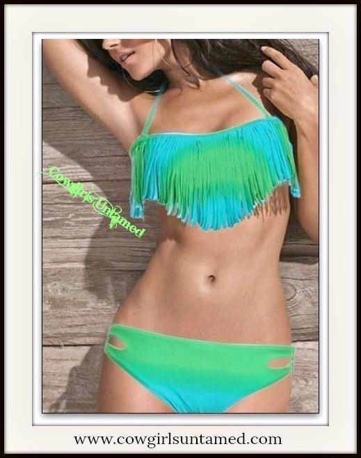 COWGIRL GYPSY BIKINI Blue & Green Ombre Fringe Padded Bikini