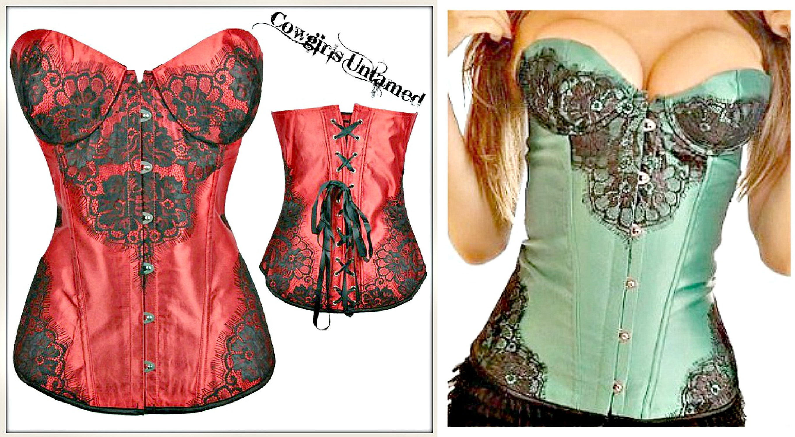CORSET - Black Lace on Satin Lace Up Back Corset Top - GREEN or RED / S-2X