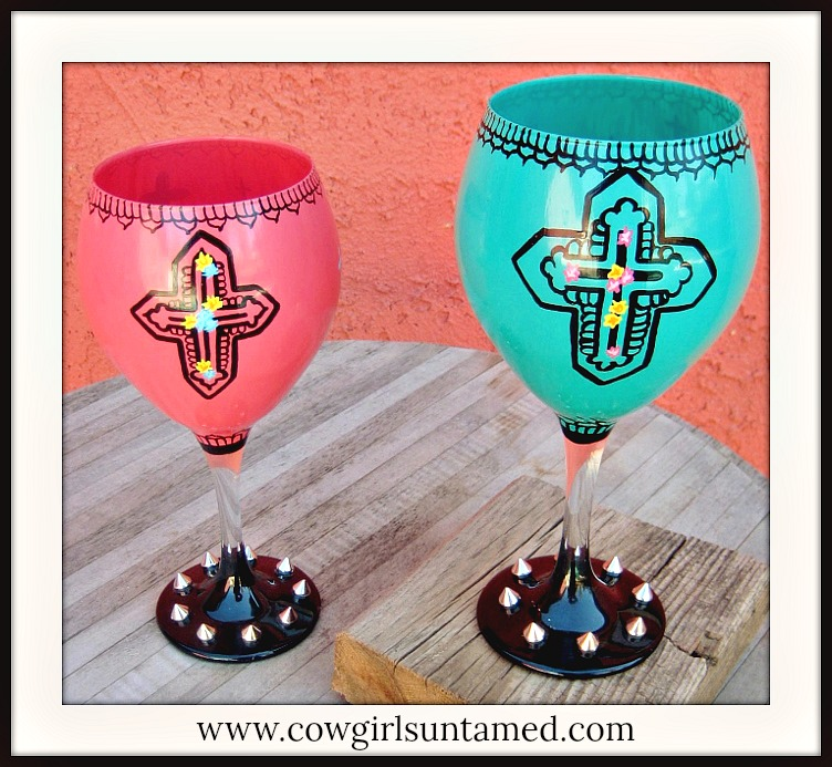 SASSY BITCH DECOR Hand Painted Black Multi Cross Silver Spiked Western Wine Glass