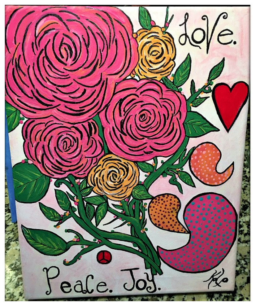 "BOHEMIAN COWGIRL PAINTING ""Love Peace Joy"" Pink & Orange Floral and Paisley Art"
