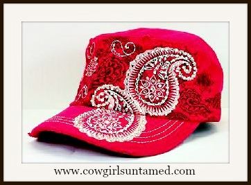 WESTERN COWGIRL HAT White Embroidered Studded Paisley on Hot Pink Cowgirl Cap