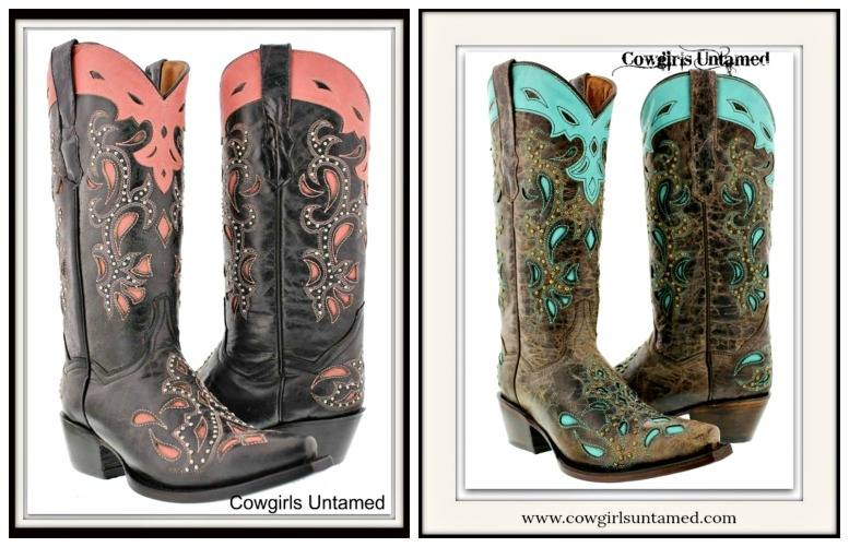 COWGIRL STYLE BOOTS Paisley Inlay Studded Genuine Leather Western Boots  2 COLORS!