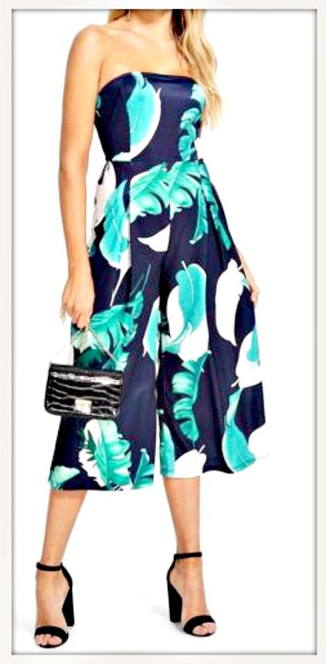 BOHO CHIC JUMPSUIT Palm Leaf Strapless Wide Leg Navy Blue Jumpsuit LAST ONE! L/XL