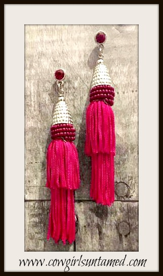 VINTAGE BOHEMIAN EARRINGS Red Long Tassel Silver Vintage Boho Chic Earrings
