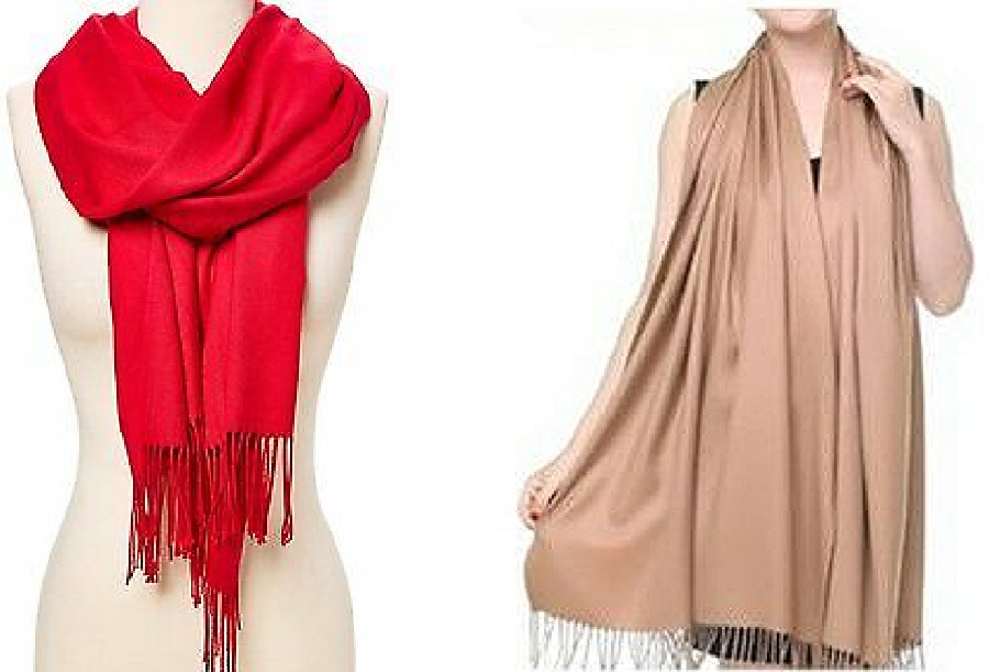 WILDFLOWER SHAWL SCARF Fringe Silk & Cashmere Pashmina Large Womens Scarf Shawl 2 COLORS