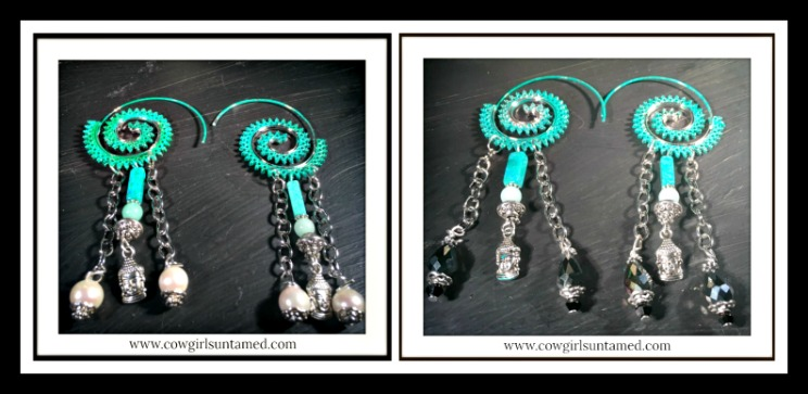 BOHEMIAN COWGIRL EARRINGS Silver Buddha Charm Gemstone Patina Hoop Boho Earrings