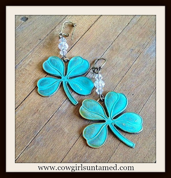 VINTAGE COWGIRL EARRINGS Patina Lucky 4 Leaf Clover Crystal Antique Bronze Earrings