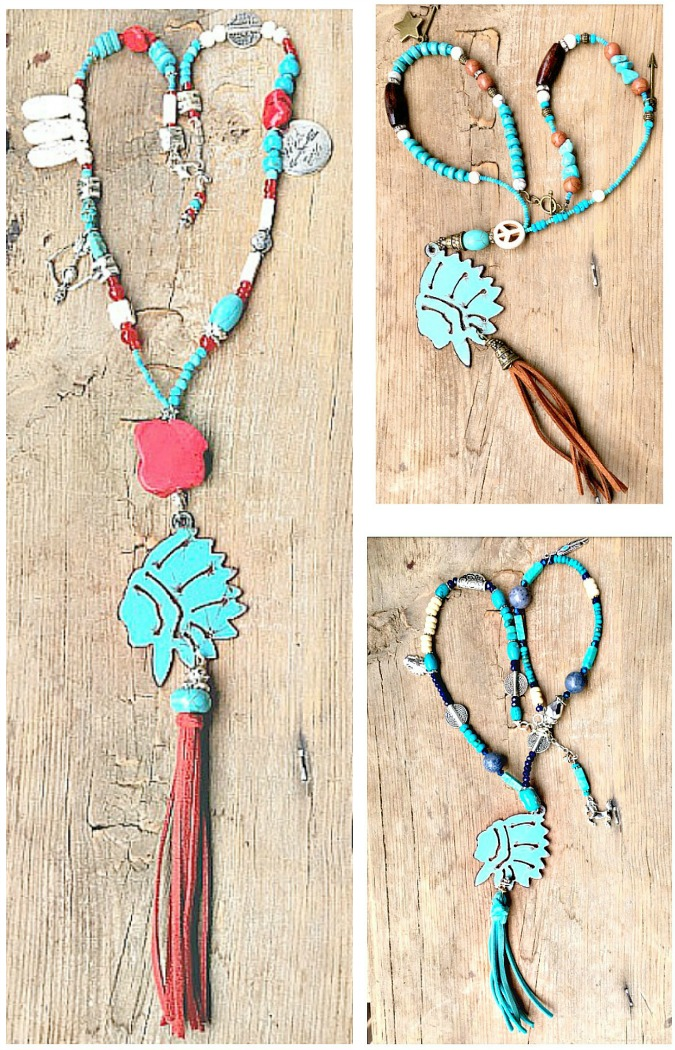 GYPSY SOUL NECKLACE Patina Metal Indian Chief Tassel Pendant Turquoise & Charm Beaded Necklace 3 COLORS