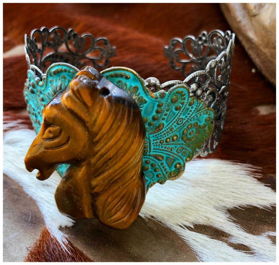 THE VINTAGE HORSE CUFF Brown Gemstone Horse on Copper Patina on Antique Silver Filigree Bracelet