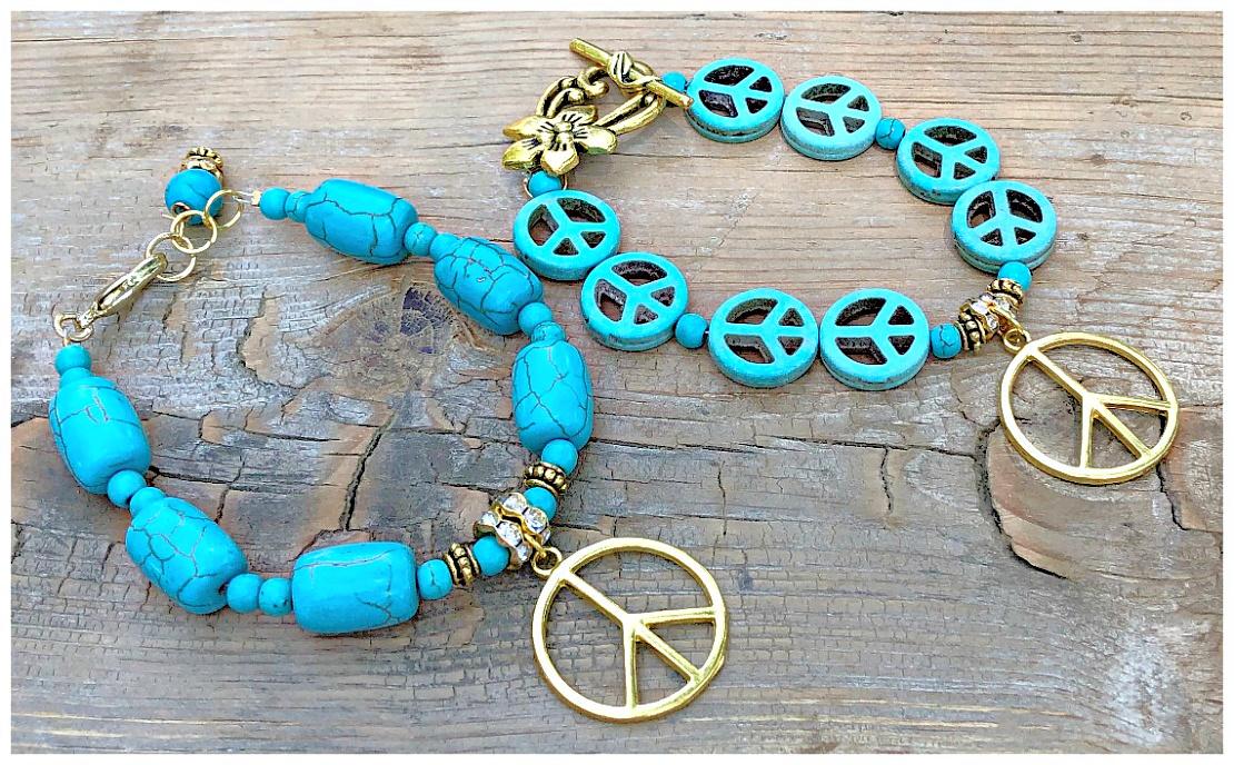 HIPPIE CHIC BRACELET Handmade Turquoise Rhinestone Beaded Gold Peace Charm Bracelet - 2 STYLES