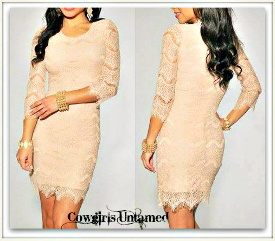 THE SARAH DRESS 3/4 Sleeve Peach Lace Western Mini Dress