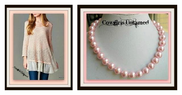 COWGIRL GYPSY SWEATER Peach Three Quarter Sleeve Lace Ruffle Hem Sweater
