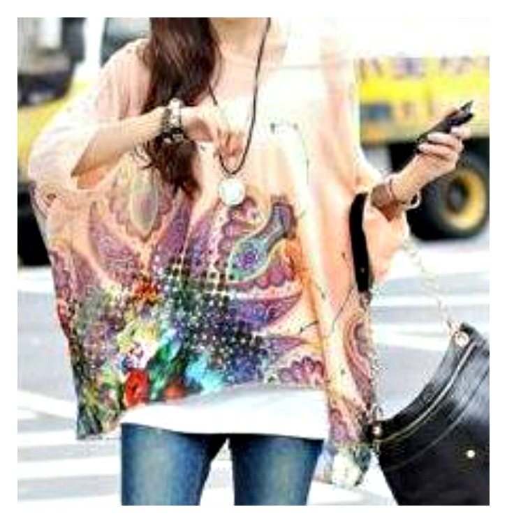 COWGIRL GYPSY TOP Multi Color Semi Sheer Floral Paisley Print Dolman Sleeve Hi Lo Hemline Top