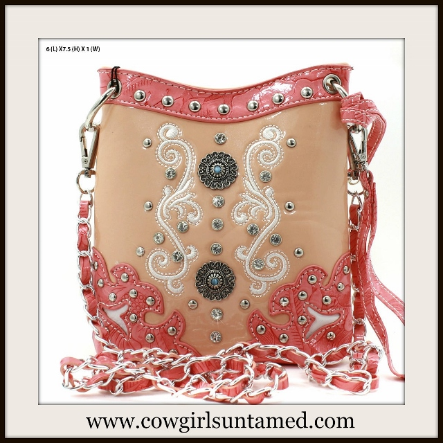 WESTERN COWGIRL MESSENGER BAG Beautiful Rhinestone Studded Peach and Coral Leather Bag