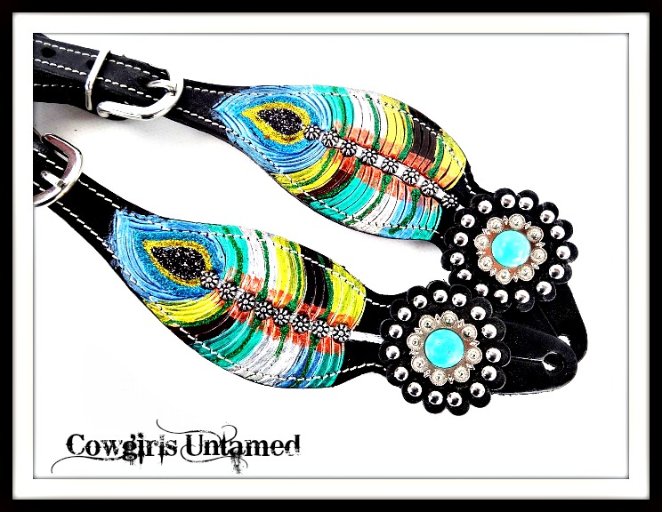 COWGIRL STYLE SPUR STRAPS Handpainted Turquoise Feather Conchos Studded Leather Spur Straps