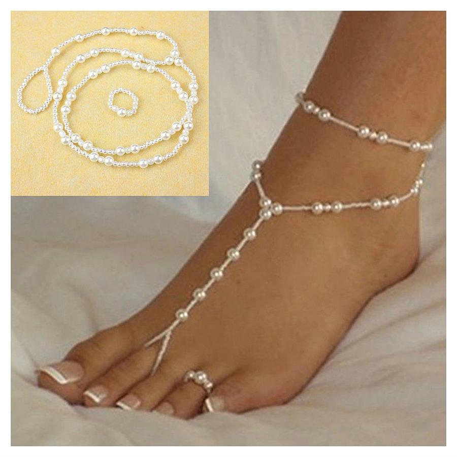 WILDFLOWER ANKLET TOE RING SET Pearl Anklet and Toe Ring Barefoot Sandal Set