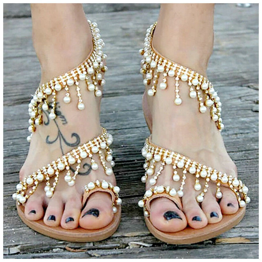 THE BOHO SANDAL Pearl Charm Leather Strappy Summer Boho Sandals SIZES 6-10.5