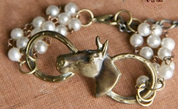 COWGIRL GLAM BRACELET Vintage Pearl Chain with Horseshoe N Horse & Boot Charm Western Bracelet