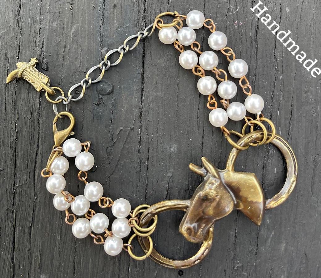 THE VINTAGE COWGIRL BRACELET Handmade Vintage Pearl Chain with Horseshoe N Horse & Boot Charm Western Bracelet