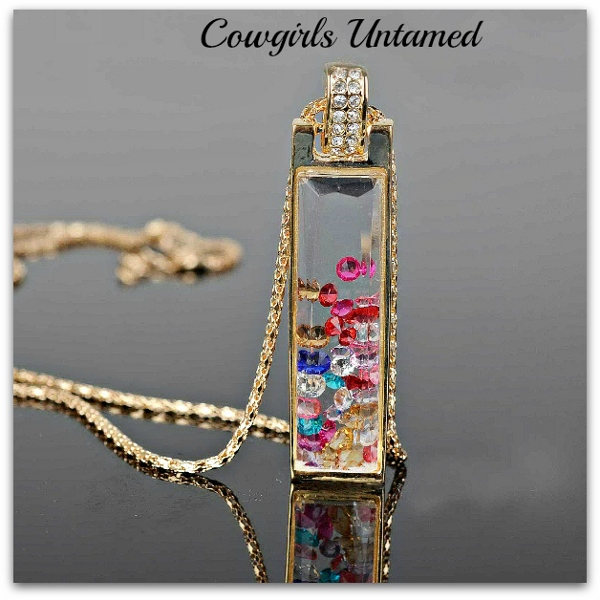 COWGIRL GYPSY NECKLACE Rhinestone Multi Color Crystal Long Gold Chain Pendant Necklace
