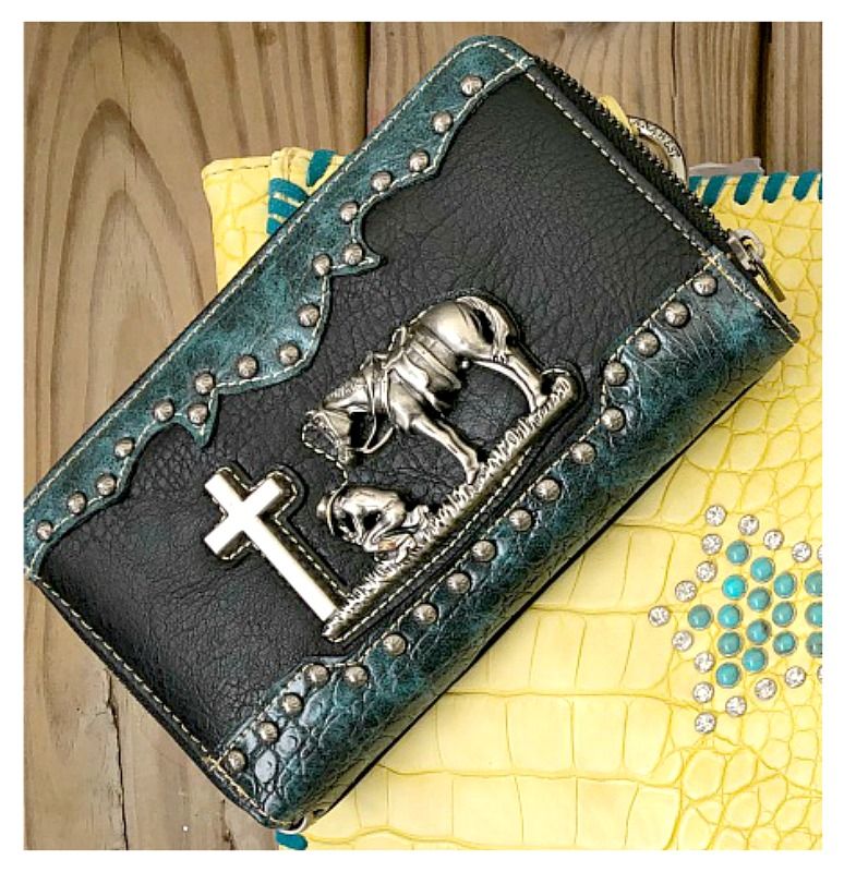 WESTERN COWGIRL WALLET Antique Silver Cowgirl & Horse at Cross Studded Turquoise & Black Leather Wallet