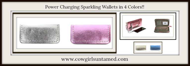 COWGIRL GLAM POWER WRISTLET Phone Charging Glittery Studded Clutch Wristlet with Strap