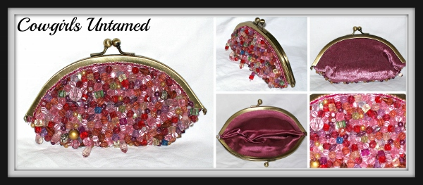 COWGIRL GLAM CLUTCH Multi-Colored Beaded Pink Velvet Satin Gold Tone Small Bag