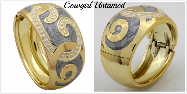 COWGIRL GYPSY CUFF Gold Tone Gray Inlay Curve Bangle Bracelet
