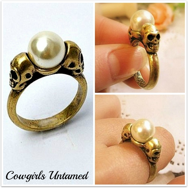 COWGIRL GYPSY RING Skull Faux Pearl Bronze Gold Antique Ring