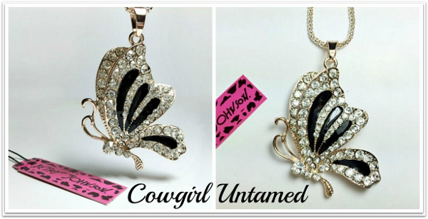 COWGIRL GLAM NECKLACE Bling Crystal Butterfly Rhinestone Chain Necklace