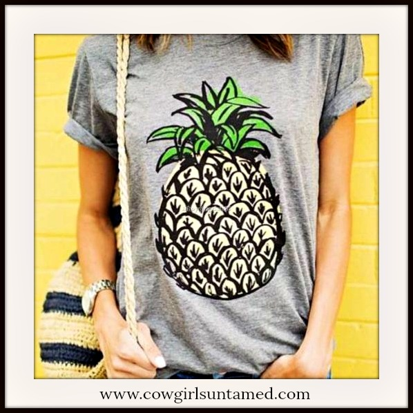 LAVONNE & VIOLET TOP Pineapple Grey Short Sleeve T-Shirt