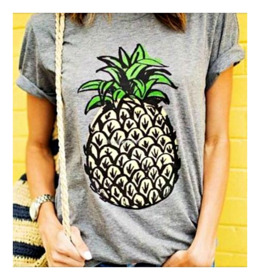 LAVONNE & VIOLET TOP Pineapple Grey Short Sleeve T-Shirt ONLY 3 LEFT M, L, 2X