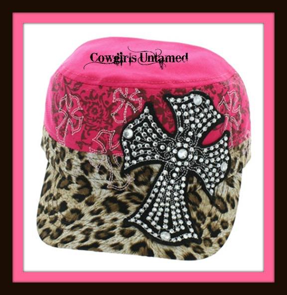 COWGIRL STYLE HAT Embroidered Rhinestone Cross on Pink & Leopard Western Cap