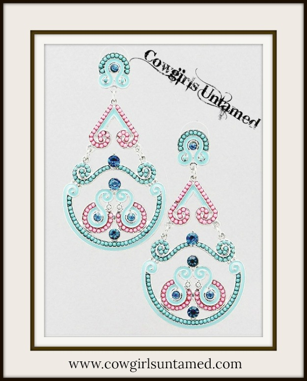 COWGIRL GYPSY EARRINGS Pink Aqua N' Blue Topaz on Gold Chandelier Earrings