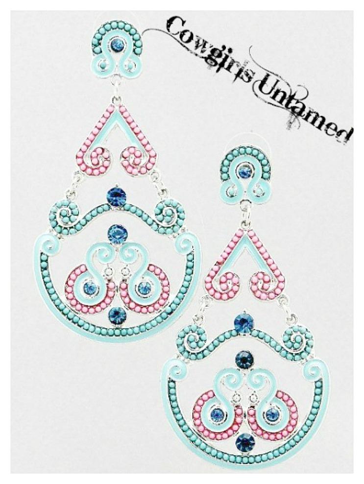 COWGIRL GYPSY EARRINGS Pink Aqua N' Blue Topaz on Gold Chandelier Earrings