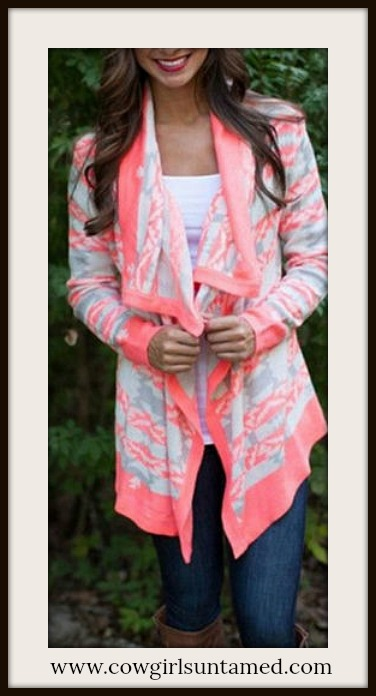 COWGIRL GYPSY SWEATER Pink Aztec Design Open Cardigan