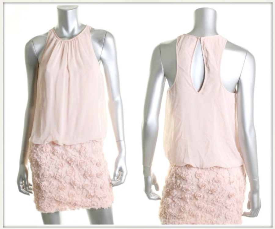 TOUCH OF GLAM DRESS Pink Chiffon N' Lace Keyhole Back Halter Designer Mini Dress